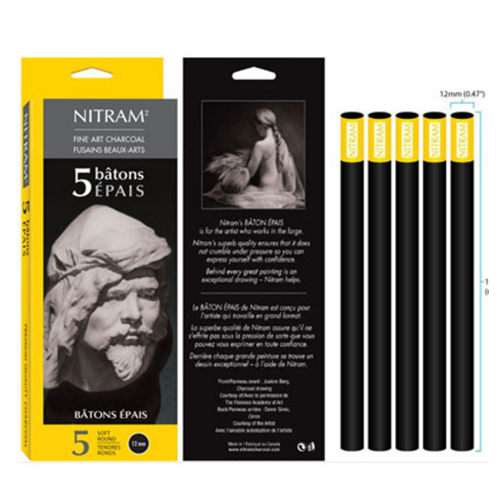 Nitram Charcoal Batons Epais Soft Round 12mm - 5 Pack