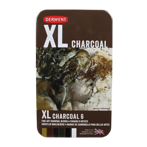 Derwent XL Charcoal Blocks Tin Set of 6