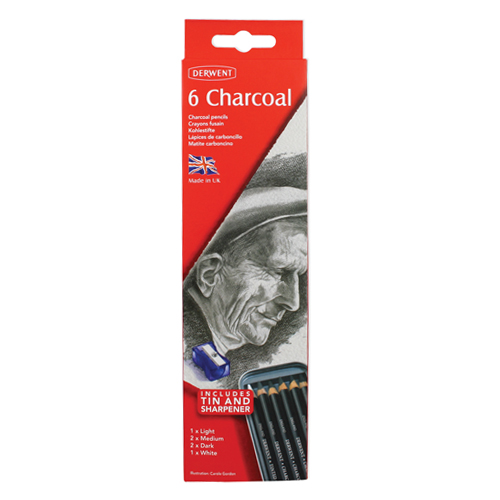 Derwent Charcoal Pencils Tin Set of 6