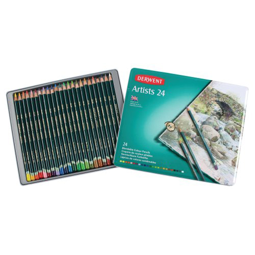 Derwent Artists Coloured Pencils Tin Set of 24