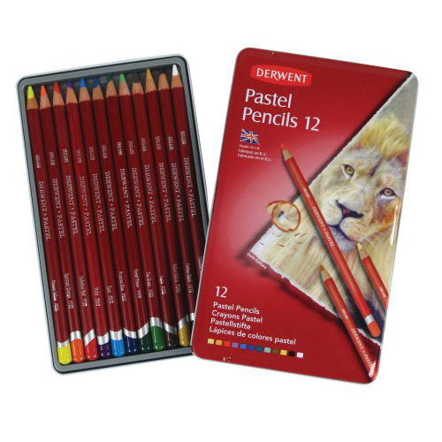 Derwent Pastel Pencils Tin Set of 12 Assorted