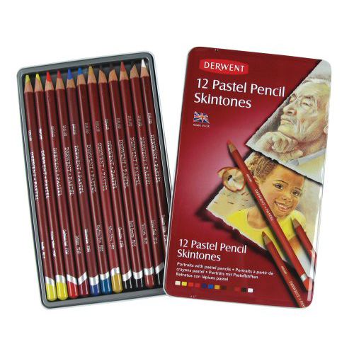 Derwent Pastel Pencils Tin Set of 12 Skintones