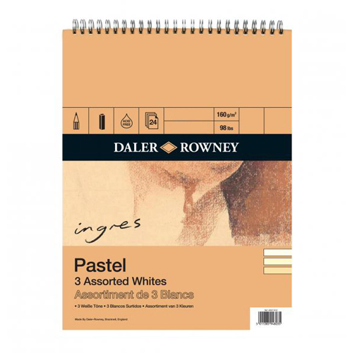 Daler Rowney Ingres Pastel Paper Spiral 9 x 12in: Assorted Whites