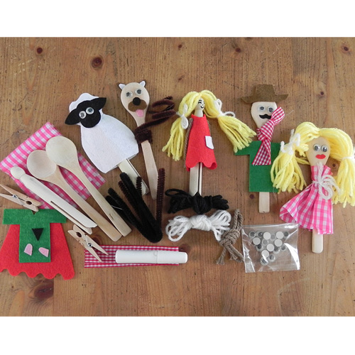 Gift in a Tin Peg and Spoon Puppet Kit