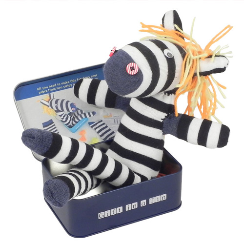 Gift in a Tin Sock Zebra in a Tin