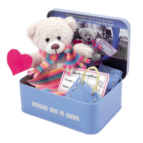 Gift in a Tin Teddy in a Tin Cuddly Bear