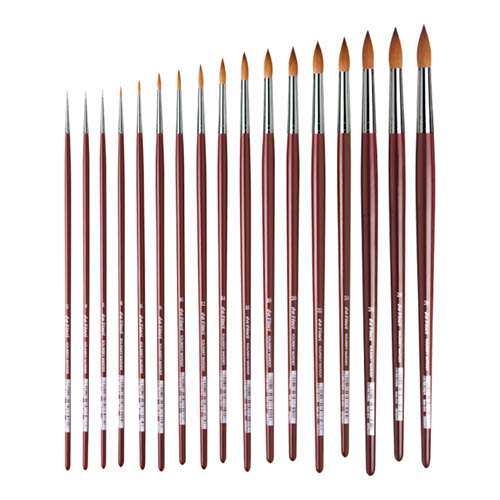 Da Vinci Series 1610 Round Red Kolinsky Sable Brushes: Size 0