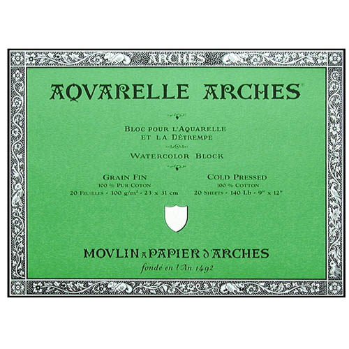 Arches Aquarelle Block 140lb/300gsm Cold Pressed/Not: 23x31cm