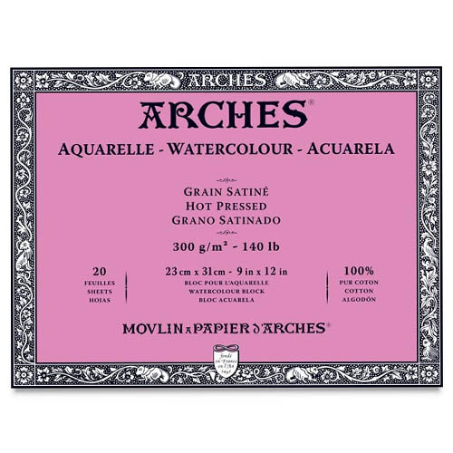 Arches Aquarelle Block 140lb/300gsm Hot Pressed: 18x26cm