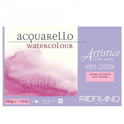 Fabriano Artistico Block 300gsm/140lb Hot Pressed: 9x12in