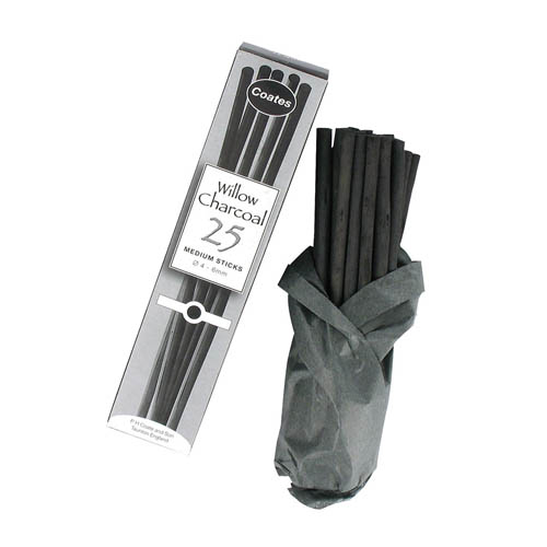 Coates Willow Charcoal Medium Sticks 25 Pack