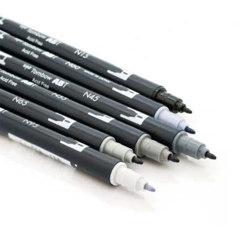 Tombow Dual Brush Pen Set 6pk Greys