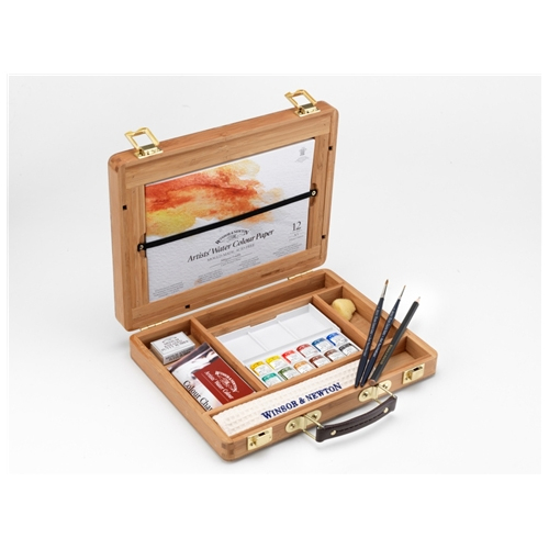 Winsor & Newton Artists Watercolour Half Pan Bamboo Box
