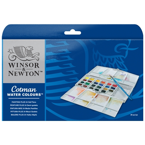 Winsor & Newton Cotman Watercolour Painting PLUS 24 Half Pan Set