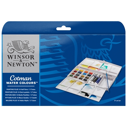 Winsor & Newton Cotman Watercolours Painting PLUS Half Pan and Tube