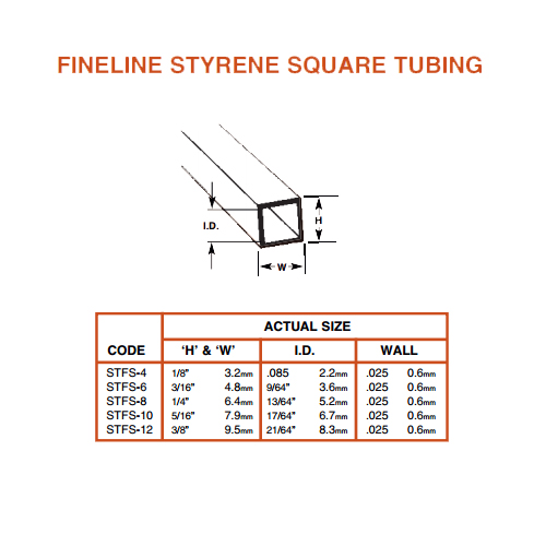 Plastruct Fineline Square Tube: 5/16