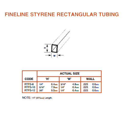 Plastruct Fineline Rectangular Tube