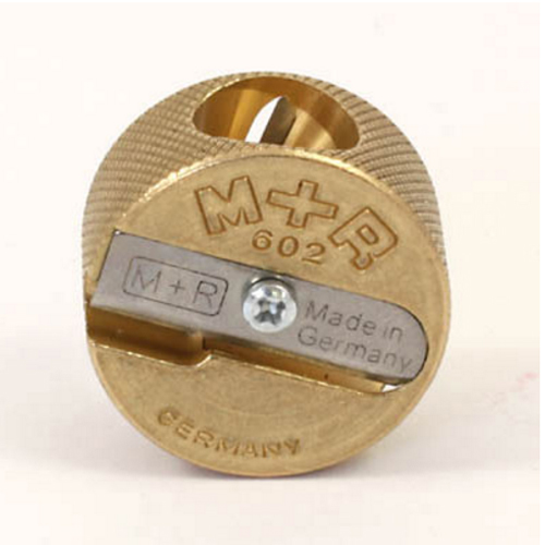 Professional Solid Brass Pencil Sharpener: Double Hole Circular