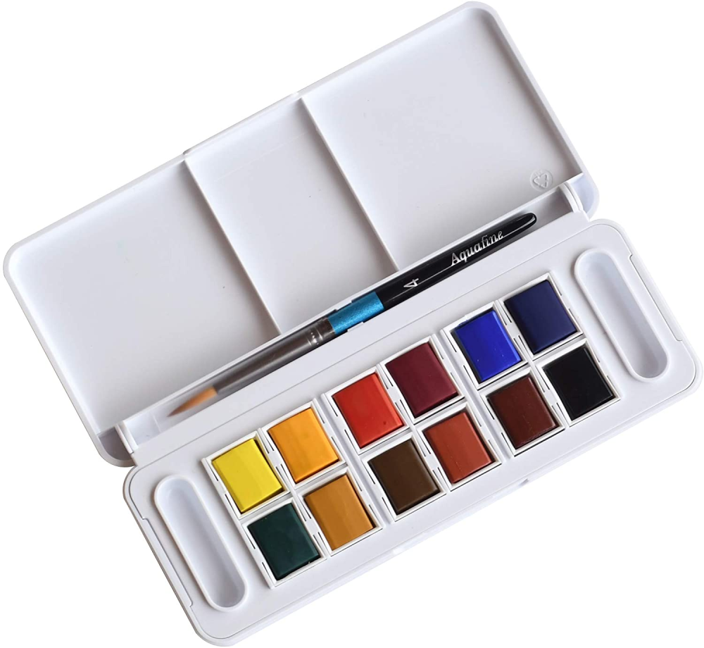 Aquafine Watercolour Travel Set 12 Half Pans