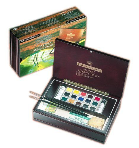 Daler-Rowney Artists Water Colour Half Pan Wooden Box